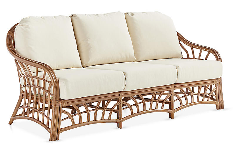 New Kauai Rattan Sofa, Natural/White