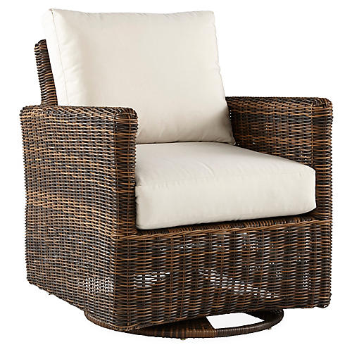 Del Ray Wicker Swivel Glider, Chestnut/Canvas