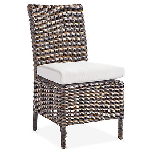 Del Ray Wicker Dining Side Chair, Chestnut/Canvas