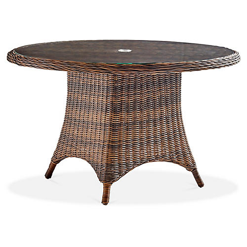 Barrington Wicker Chat Table, Chestnut