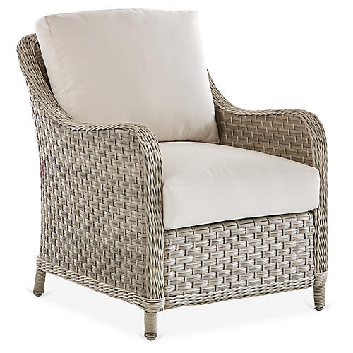 Mayfair Wicker Club Chair, Gray/Canvas