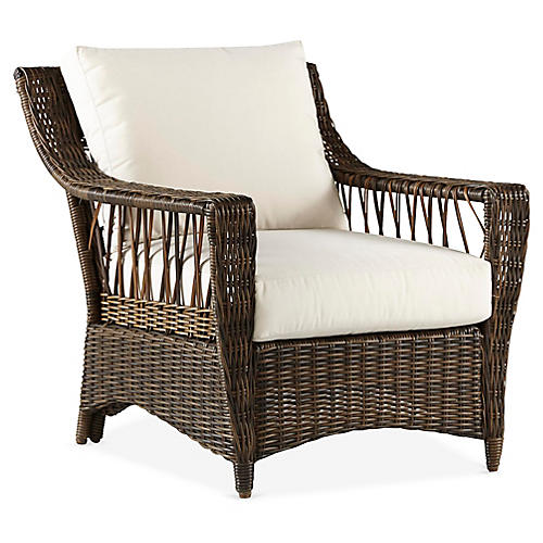 St. John Wicker Club Chair, Brown/Canvas