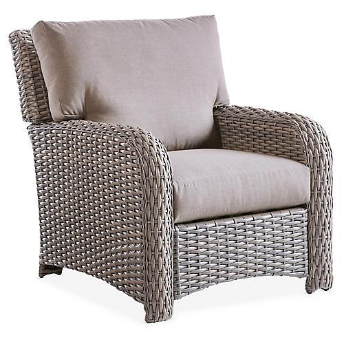 St. Tropez Wicker Club Chair, Gray/Gray