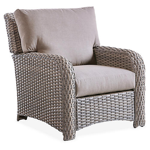 St. Tropez Wicker Club Chair, Gray/Gray