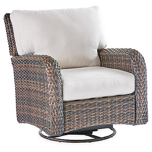 St. Tropez Wicker Swivel Glider, Espresso/Canvas