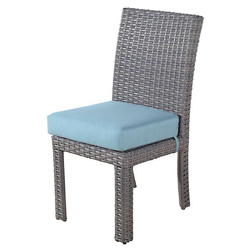 St. Tropez Wicker Dining Side Chair, Gray/Blue