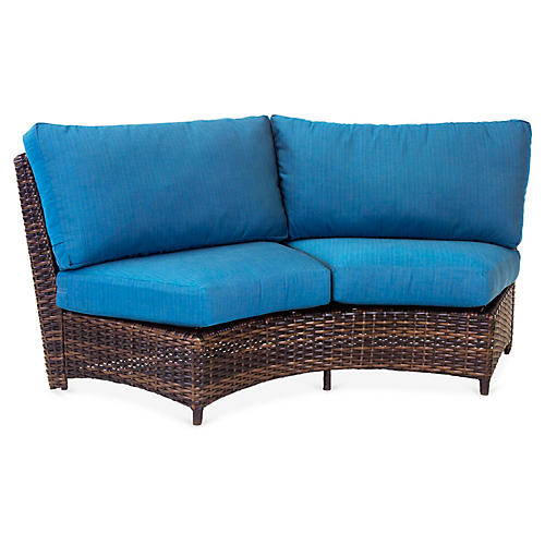 St. Tropez Wicker Curved Loveseat, Espresso/Blue