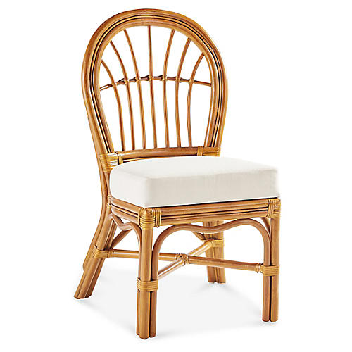 Palm Harbor Rattan Side Chair, Natural/White