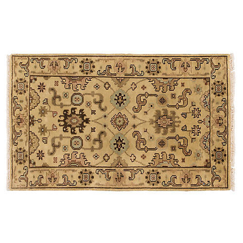 3'x5' Oushak Hand-Knotted Rug, Beige