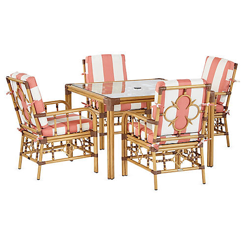 Mimi 5-Pc Dining Set, Coral/White Sunbrella