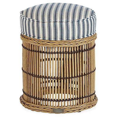 Rafter Round Ottoman, Denim Blue/White Sunbrella