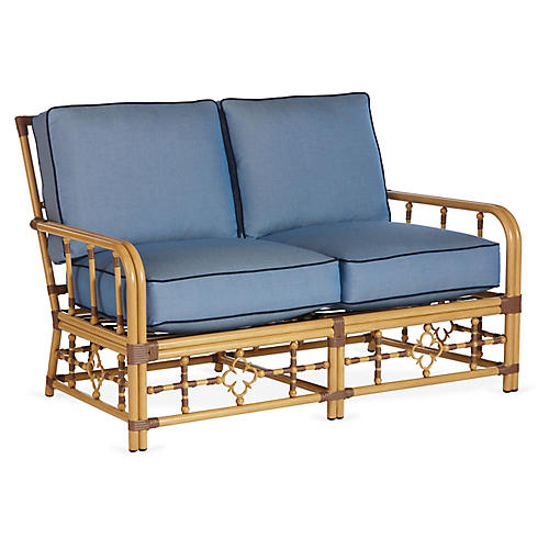 Mimi Loveseat, Blue/Navy Sunbrella