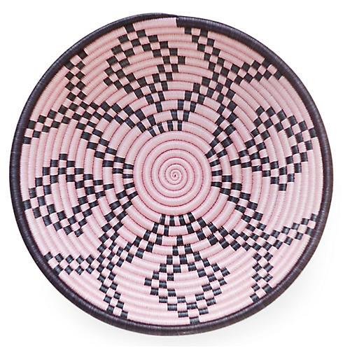 "12"" Kaleidoscope Plateau Basket, Pink/Black"