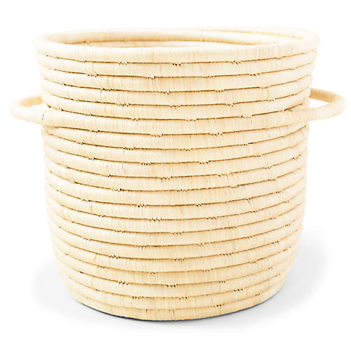 "9"" Raffia Basket w/ Handles, Natural"