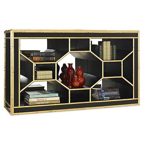 Ravenel Low Bookcase, Black/Gold