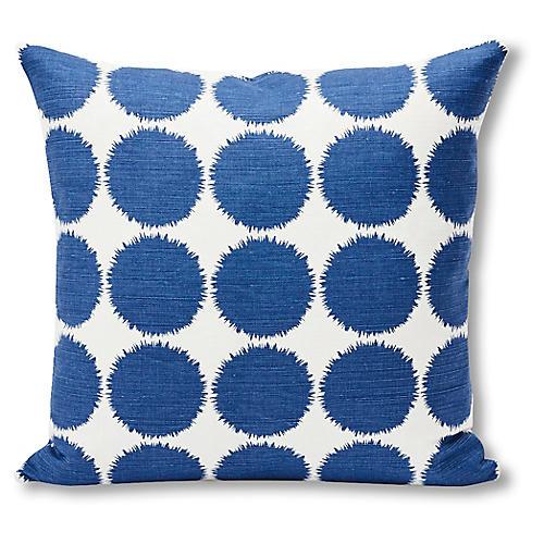 Fuzz 18x18 Pillow, Navy/White Linen