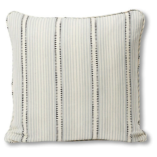 Moncorvo 18x18 Pillow, Gray/Aqua Stripe Linen