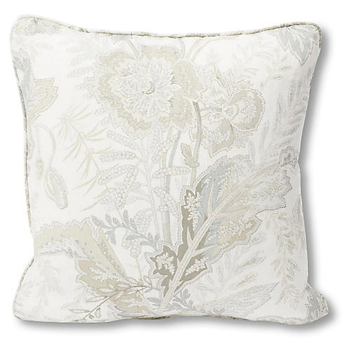 Sandoway Vine Pillow, Ivory/Gray Linen