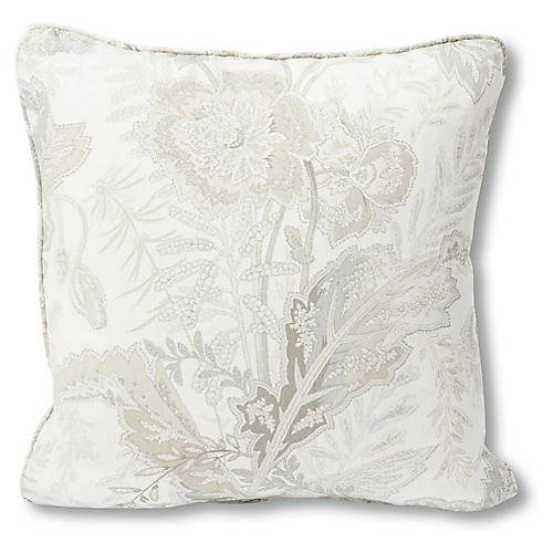 Sandoway Vine 18x18 Pillow, Ivory/Gray Linen