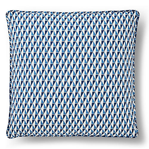 Wright 18x18 Pillow, Blue/White Linen