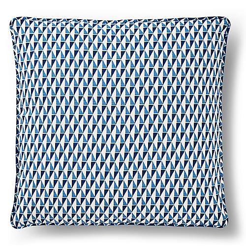 Wright Pillow, Blue/White Linen