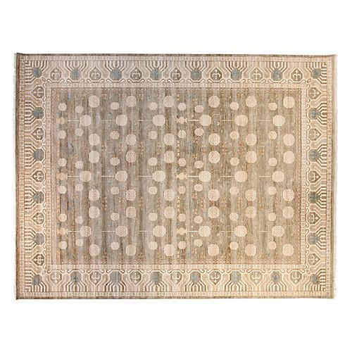 9'x12' Sari Wool Khotan Rug, Gray