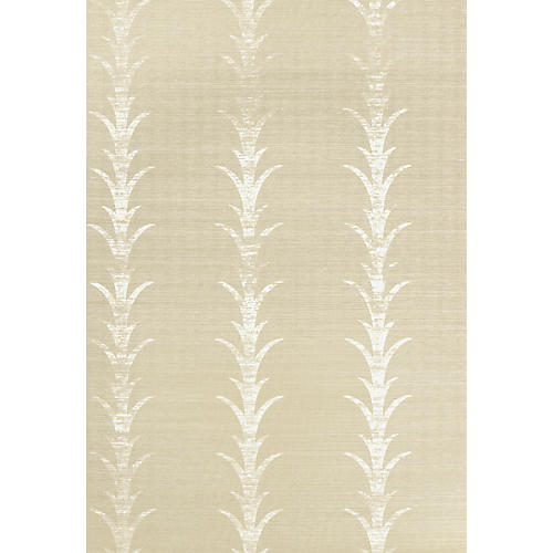 Acanthus Stripe Wallpaper, Fog/Chalk