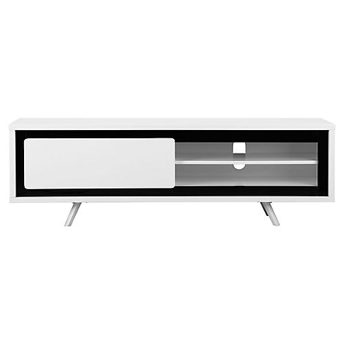 Hal Small Media Console, White/Black