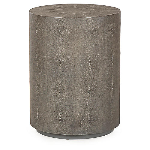 Braden Faux-Shagreen Side Table, Charcoal