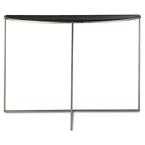 Nathan Faux-Shagreen Console, Charcoal