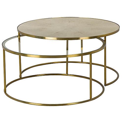 Asst. of 2 Ringo Nesting Tables, Brass