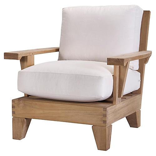 Saranac Lounge Chair, Natural Sunbrella