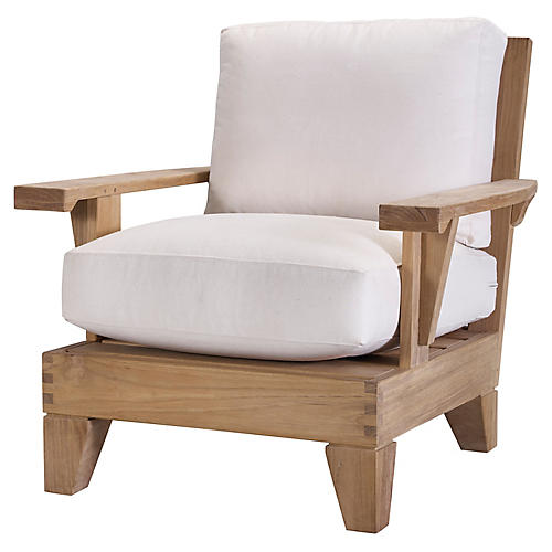 Saranac Lounge Chair, Natural Sunbrella