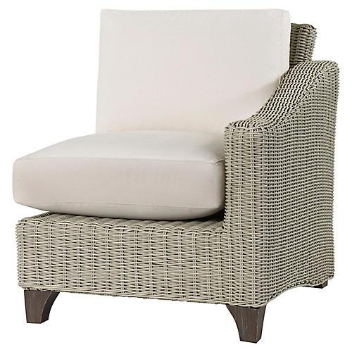 Requisite Right-Arm Chair, Bone/Natural Sunbrella