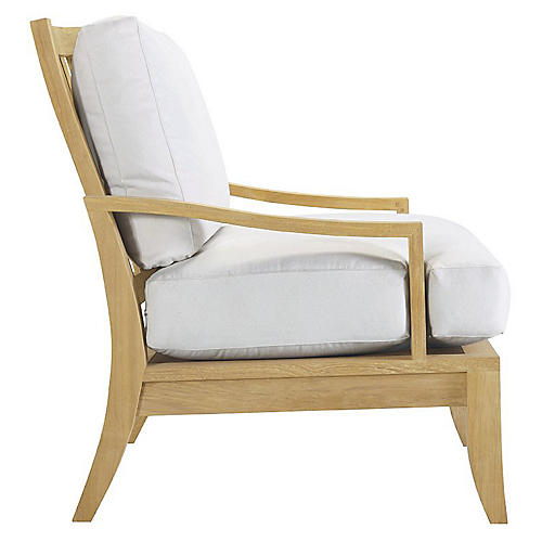 Aura Teak Lounge Chair, Natural Sunbrella