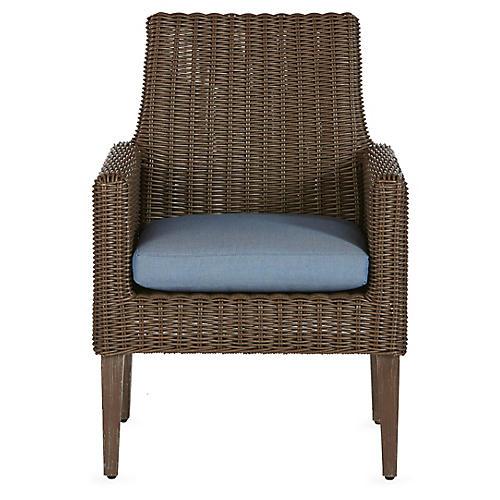 Fillmore Armchair, Blue Sunbrella