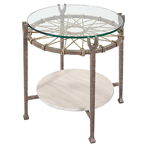 Hemingway Round Side Table, Ivory