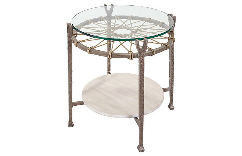 Hemingway Round Side Table, Ivory