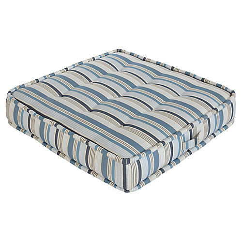 Tufted Floor Cushion, Blue/Tan Stripe Sunbrella