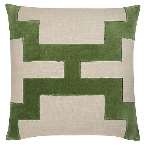 Catie 22x22 Pillow, Green/Natural