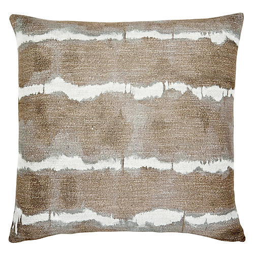 Gilbert 22x22 Pillow, Hazelnut/White Linen