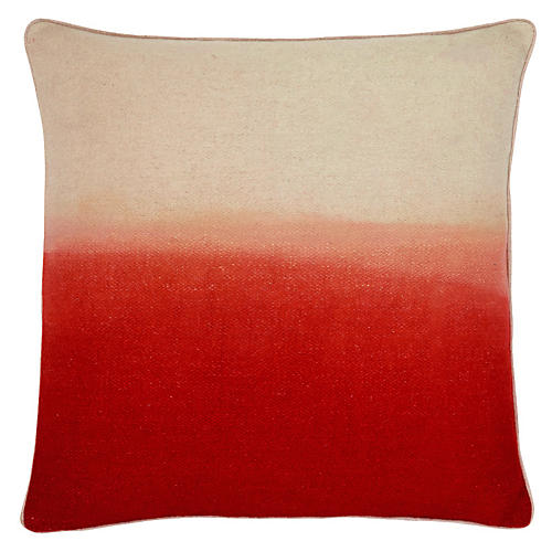 Jenkins 22x22 Pillow, Crimson/Ivory