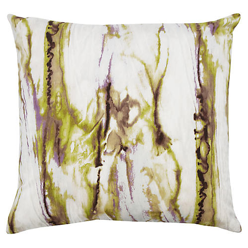 Juno 22x22 Pillow, Lime/Lavender Velvet