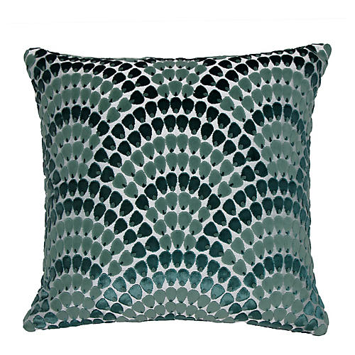 Landis 22x22 Pillow, Bermuda Blue/Teal Velvet