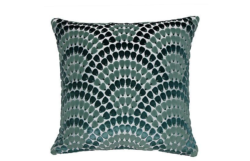 Landis 22x22 Pillow, Bermuda Blue/Teal Velvet