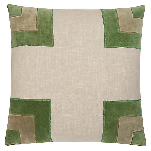 Luke 22x22 Pillow, Camarone Green/Ivory