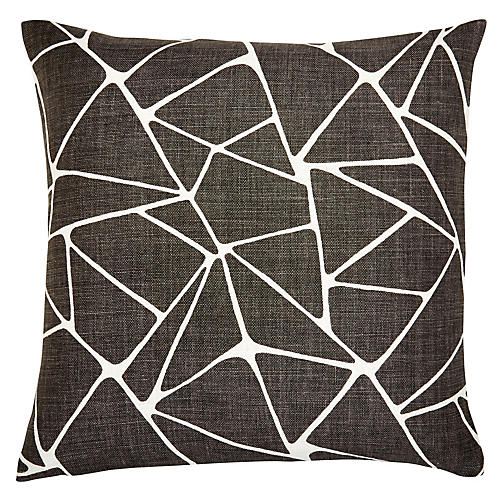 Oliver 22x22 Pillow, Ebony/White Linen