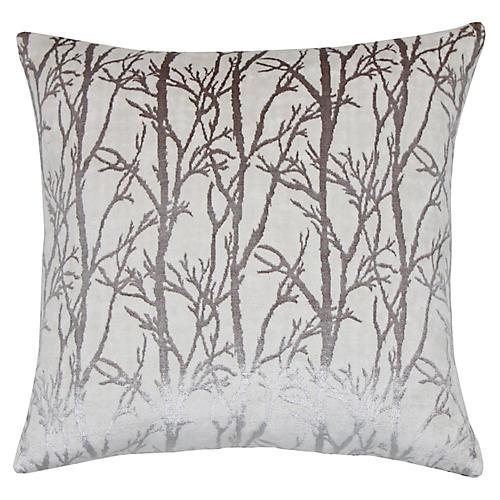 Verona 22x22 Pillow, Pewter/Silver Velvet