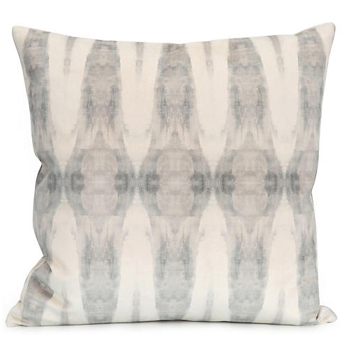Driven No. 3 20x20 Pillow, Ivory/Gray Velvet