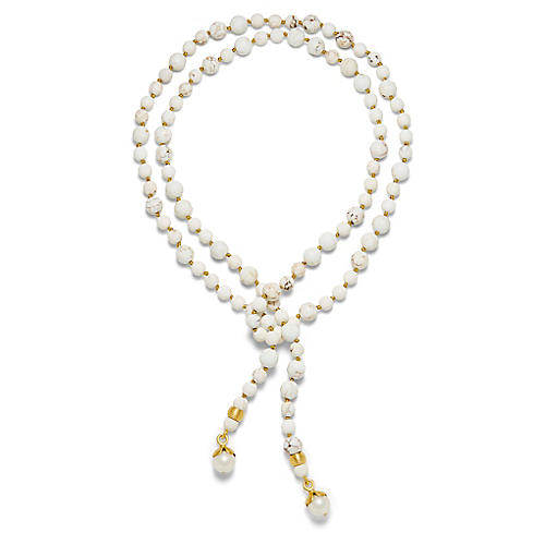 14-Kt Teardrop Lariat Necklace, Creamy White